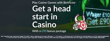 BetVictor Casino: EXCLUSIVE Wager £10 get £70 Bonus - A close up of a sign - Graphic design