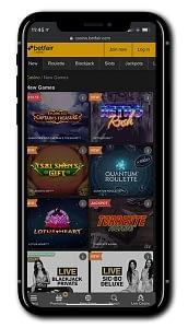 BetFair Casino mobile screen