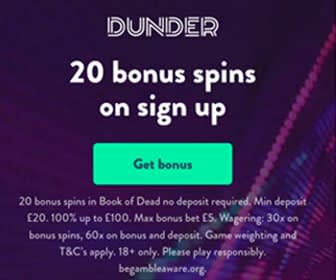 Dunder casino no deposit bonus UK