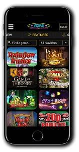 Vegas Mobile Casino lobby
