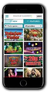 Dazzle Casino mobile screenshot