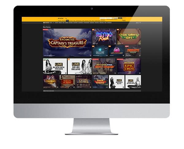 BetFair Casino desktop screen